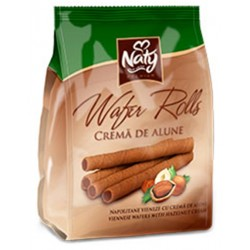 Napolitane vieneze cu alune Naty Rolls 200 grame