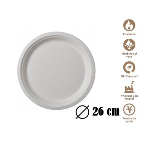 Farfurii biodegradabile Estetik 26 cm 50 buc